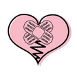 color heart love broken with aid band vector image vector image