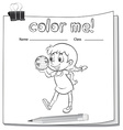 Coloring worksheet with girl vector image vector image