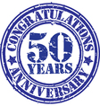 Congratulations 50 years anniversary grunge rubber vector image vector image