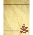 Crumpled vintage card with hearts vector image