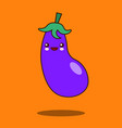 cute vegetable cartoon character eggplant icon vector image