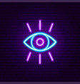 eye vision neon sign vector image vector image