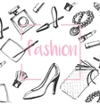 fashion sketch setHand drawn graphic shoes vector image