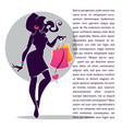 fashionable girl silhouette with shopping bag vector image vector image