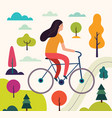 girl on the bicycle vector image vector image