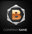 gold letter b logo symbol in the silver hexagonal vector image vector image
