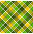 Green yellow diagonal check plaid seamless pattern vector image