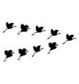 hand drawn black crane birds set vector image