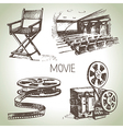 Hand drawn vintage Movie and cinema set vector image