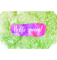hello spring lettering on brush hand drawn vector image vector image
