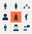 human icons set with thinker male smart man and vector image vector image