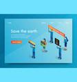 isometric banner people meeting for save the earth vector image vector image