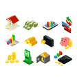 isometric business financial icons set vector image vector image