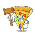 judge pizza slice mascot cartoon vector image vector image