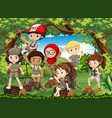 many children hiking in the forest vector image vector image