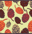 modern stylized red orange and brown pinecones on vector image