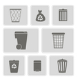 monochrome icons with symbols of trash vector image vector image