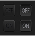 on and off square black buttons normal and pushed vector image vector image