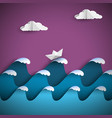 origami paper waves with clouds and ship vector image vector image