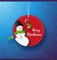 paper art christmas snowman circle tag banner vector image