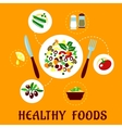 Plate with fresh copped vegetables vector image vector image