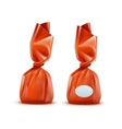 Realistic Chocolate Candy in Orange Wrapper vector image