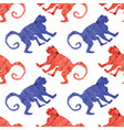 red blue monkey seamless pattern wild tropical vector image vector image