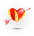Red Heart With Fire Pierced With an Arrow Isolated vector image vector image