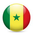 Round glossy icon of senegal vector image vector image