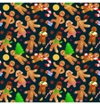 Seamless pattern christmas cookies gingerbread man vector image