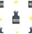 seamless pattern with rum bottles and lemon flat vector image vector image