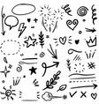 set hand drawn design elements arrow heart vector image vector image