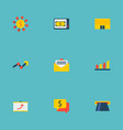 set of economy icons flat style symbols with atm vector image