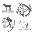 Set of equestrian stables labels and badges vector image