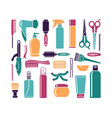 set of flat icons hairdressing accessories vector image