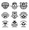 set of meat store butchery emblems design element vector image vector image