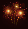 sparkling golden yellow fireworks vector image vector image