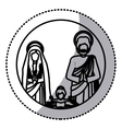 Sticker silhouette sacred family with baby jesus