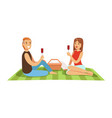 young couple having picnic man and woman vector image
