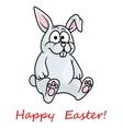 Cute little grey Happy Easter bunny vector image