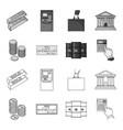 a stack of coins a bank check a calculator vector image