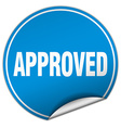 approved round blue sticker isolated on white vector image vector image