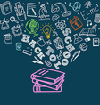 Back to school concept Falling icons to the books vector image vector image