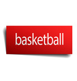 basketball red paper sign isolated on white vector image vector image