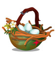 bird nest with eggs inside military helmet vector image