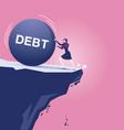 businesswoman fighting debt iron ball almost vector image vector image