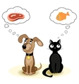 Cat and dog dreaming about food vector image