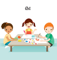 Children Relaxing In Art Class vector image vector image