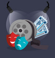 cinema reel with tickets and masks vector image vector image