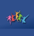 colorful papercut people in jumping pose vector image vector image